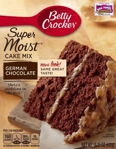 Betty Crocker Super Moist Cake Mix German Chocolate 1525 oz Box pack of 6
