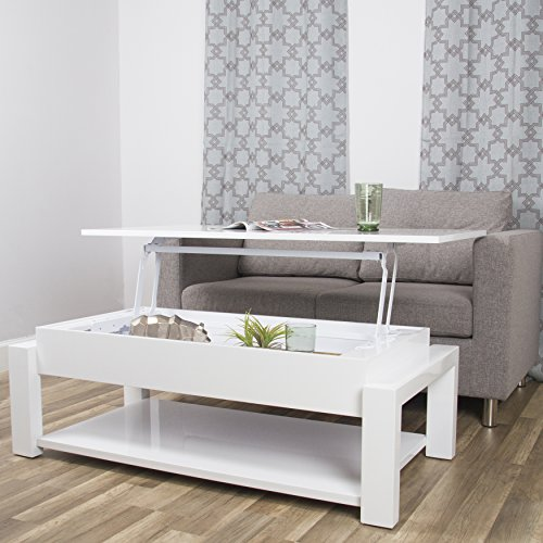 In the Mix Kayla White Lacquer Lift-Top Rectangular Coffee Table