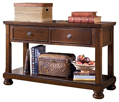 Finish Burnished Bronze Tone (Ashley Furniture Signature Design - Porter Sofa Table - Rustic Style Entertainment Console Table - Rectangular - Brown)