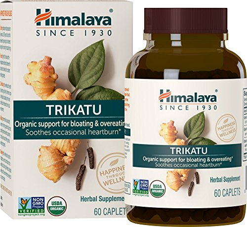 Himalaya Heart Care - Himalaya Organic Trikatu with Ginger and Long Pepper for Gas, Bloating and Occasional Heartburn Relief, 690 mg, 60 Caplets, 2 Month Supply