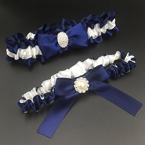 e30bee67548 Kirmoo Bridal Garter Belt Set Navy Blue and White Wedding Keepsake Toss  Garters (Navy Blue