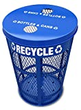 Witt Industries EXP-52NPBL-FTR 48-Gallon Expanded Metal Outdoor Recycling Receptacle, Round, 23'' Diameter x 33'' Height, Blue