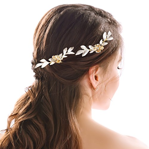 Yean Wedding Hair Pins Gold Leaf Flower Bridal Hair Clips for Brides and Bridesmaids Set of 2