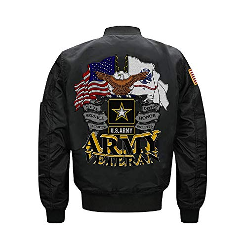 (US Army Veteran MA-1 Flight Embroidered Bomber Jacket (Large, Black))