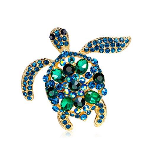 YFan Fashion Tortoise Rhinestone Brooch Pins Women Cute Animal Jewelry Accessories