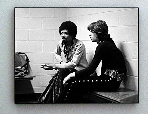Rare Framed Jimi Hendrix with Mick Jagger Vintage Photo. Jumbo Giclée Print
