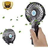 Handy Mini Fan,Bamett Portable USB Mini Fan Handheld Fan Collapsible Foldable Outdoor Fan Clip Fan Desktop Fan Battery / USB Operated for Home, Travel, Caming,Bedroom and Office(Black)