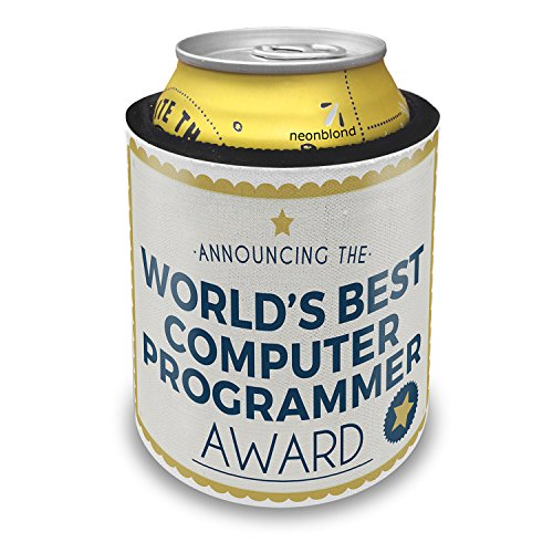 (Slap Can Coolers Worlds Best Computer Programmer Certificate Award Insulator Sleeve Covers Neonblond)