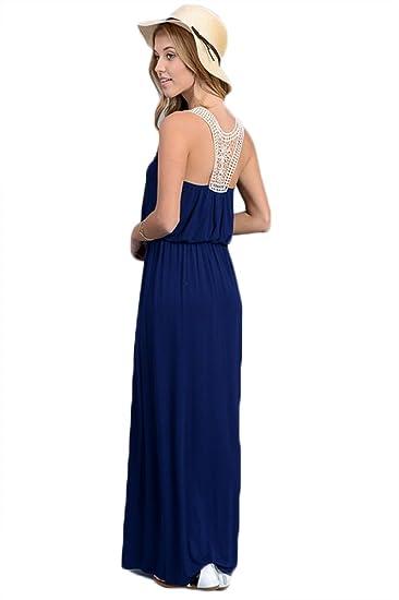 6b6cdef2d1e Vanilla Bay Women s Crochet Back Solid Maxi Dress at Amazon Women s ...