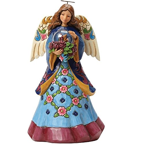 Jim Shore for Enesco Heartwood Creek Angel with Butterfly in Glass Figurine, 9.25