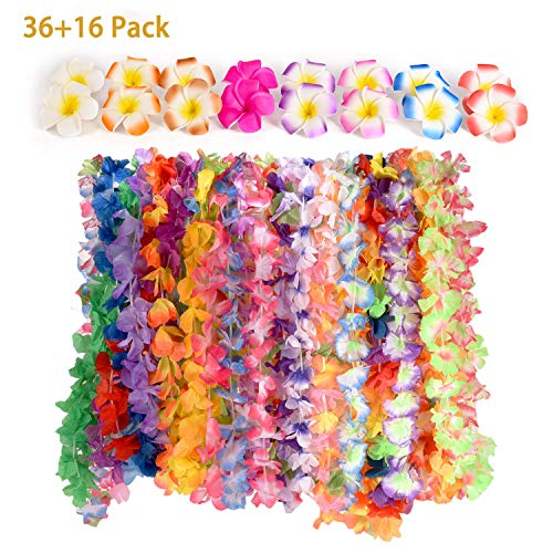 (CWLAKON Hawaiian Luau Party Supplies-Hawaiian Leis(36Ct) with Hawaiian Flower Hair Clips(16pcs), Perfect for Your Hawaii)