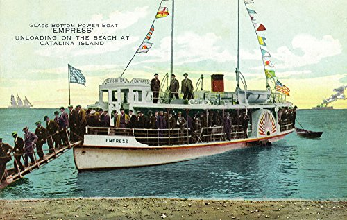 Santa Catalina Island, California - View of Glass Bottom Boat Empress on Beach (24x36 SIGNED Print Master Giclee Print w/Certificate of Authenticity - Wall Decor Travel Poster)