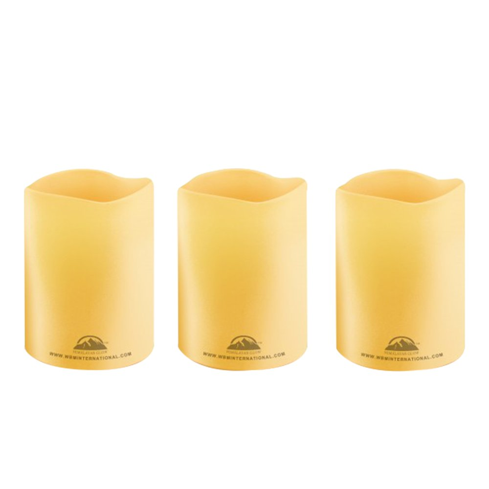 Himalayan Glow HG1205 3 Piece Wbm Pillar Flameless Candles, 3 inch, Ivory Color (3-Pack)
