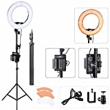 EACHSHOT ES180 Kit, {Including Light, Stand, Portable Power Supply, Phone Clamp, Tripod Head }180 LED 13'' Stepless Adjustable Ring Light Camera Photo/Video Portrait photography 180pcs LED 5500K Dimmab