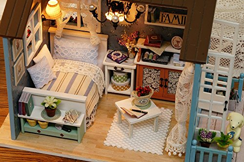 Kisoy Domantic and Cute Dollhouse Miniature DIY House Kit Creative Room Perfect DIY Gift for Friends,Lovers and Families(Romantic Forest Time)