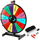"Smartxchoices 18"" Tabletop Spinning Prize Wheel Color 14 Slots Editable Face Clicker Spinner with Dry Marker Pen & Eraser Classic Trade Show Carnival Fortune Casino Game (18"")"