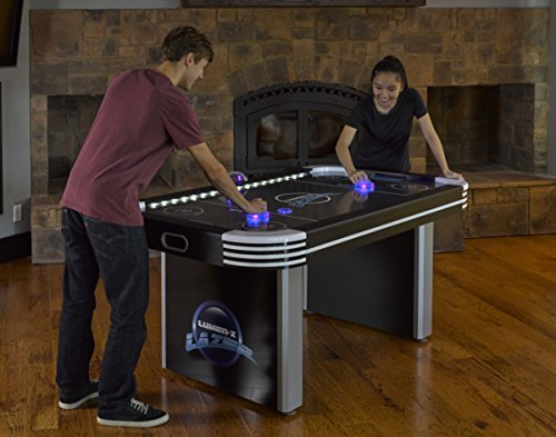 Triumph Lumen-X Lazer 6' Interactive Air Hockey Table Featuring All-Rail LED Lighting and In-Game Music