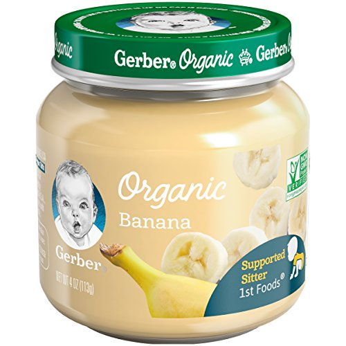 Gerber Purees Organic 1st Foods Banana Baby Food Glass Jar, 4 oz