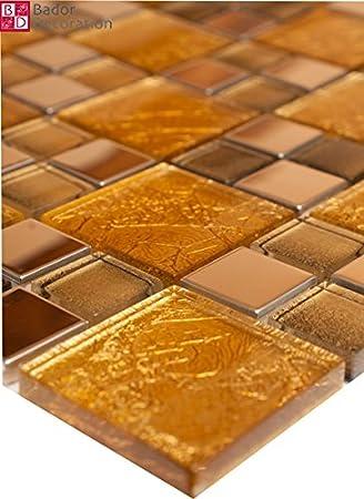1 Matte Glasmosaik Mosaikfliesen Glas Edelstahl Gold Silber 8mm ...