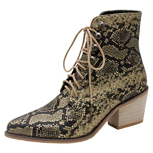 Lovygaga Women Classic Retro Sexy Serpentine Square Heel Ankle Boots Casual Outdoor Lace-Up Pointed Toe Single Shoes - Salad Fork Diamond