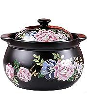 Ceramic Cookware with Lid and Double Handle Ceramic Casserole Earthen Pot Tureen Soup Clay Pot for Open Fire Stew Soup Pot BBJOZ Fish Poachers (Size : 7.5L)