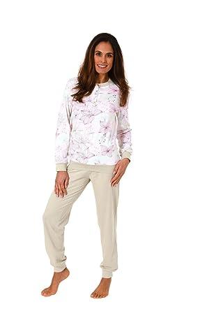 buy online 3b50f 7a4e4 Damen Pyjama Schlafanzug Rundhals Knopfleiste Langarm ...