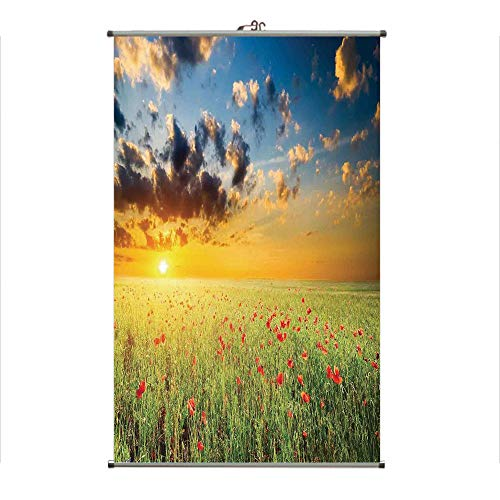 iPrint Wall Hanging Picture Wall Scroll Poster Fabric Painting,Grass and Poppies Against Sunset Horizon,3D Print Design Personality Customization Make Your Room unique23.6 X27.6