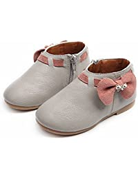 Bowknot Shoes Toddler Baby Girls Children Fashion Boots Zipper Casual Sneaker