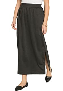 1684840122a Woman Within Plus Size Sport Knit Side-Slit Skirt at Amazon Women s ...