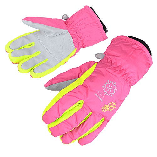 AMYIPO Kids Winter Snow Ski Gloves Children Snowboard Gloves for Boys Girls (Pink-3, M)