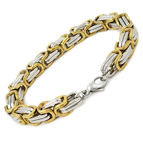 Stainless Steel Square Byzantine Chain Men Bracelet Gold