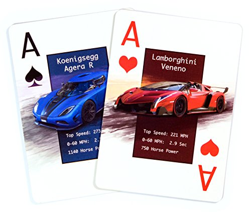 Custom Playing Cards featuring Cool Cars – Unique Deck of Cards. Great Gift Idea – Card Games – Jumbo Face