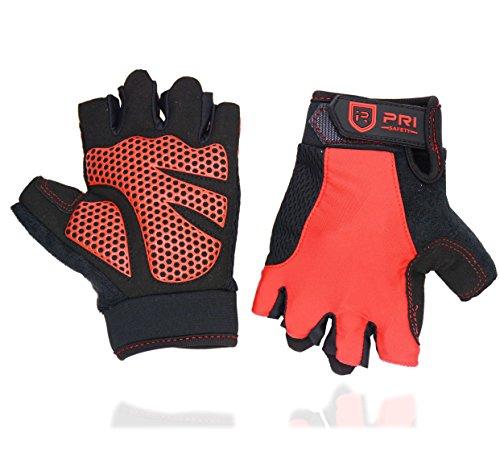Cycling Gloves Men/ Women Fingerless Mountain Bike Road Racing Breathable Anti-Slip Silicone Padding Riding Gym Sport Outdoor Workout Glove Black/Red (Black Fingerless Neoprene Gloves)