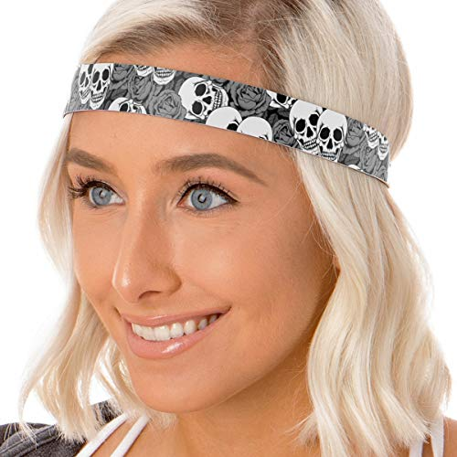 Hipsy Women's Adjustable NO Slip Skull n Roses Fashion Headbands (Wide Grey) ()