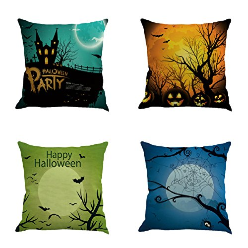 Set of 4Pcs Cotton Linen Cushion Cover Throw Pillow Covers Halloween Night Sky Printed Square Pillowcase Home Decorative Gifts for Sofa Bed Car Garden 18