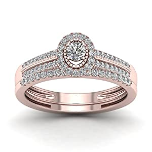 De Couer 10K Rose Gold 1/3ct TDW Diamond Halo Bridal Sets (H-I, I2)