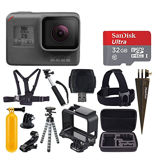 GoPro HERO6 Black + SanDisk Ultra 32GB Micro SDHC Memory Card + Hard Case + Chest Strap Mount + Head Strap Mount + Flexible Tripod + Extendable Monopod + Floating Handle - Great Value Accessory Bundle by PHOTO4LESS