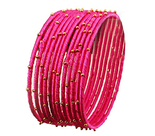 Touchstone New Silk Thread Bangle Collection Indian Bollywood Handcrafted Faux Silk Thread Exotic Look with Golden Beads Fuchsia Designer Bangle Bracelets Set of 12 for Women.