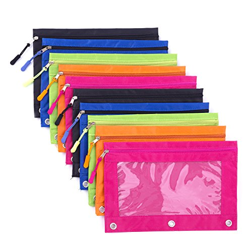 (Binder Pencil Pouch with Zipper Pulls, Pencil Case with Rivet Enforced 3 Ring, 10 Pack 5 Colors)