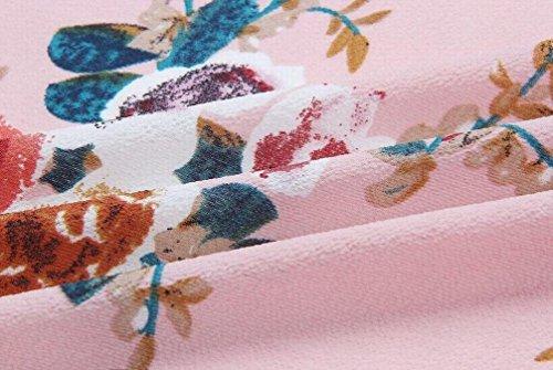 Womens Dress Split Swing Domple Flowy Boho Beachwear Strapless Maxi Floral Pink Td6qOfzw