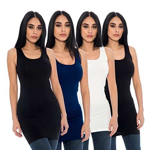 Unique Styles 4-Pack Ladies Seamless Stretch Fitted Long Tank Top Camisole Layering Top Regular and Plus Sizes (Plus Size, 2 Black, White, (Extra Long Tank)