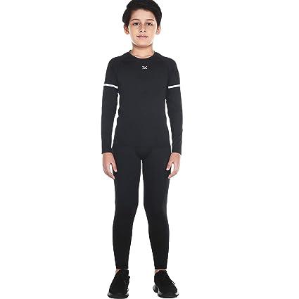Bwiv Sportunterwäsche Kinder Langarm Atmungsaktiv Sportshirt Anzug Funktionsunterwäsche Set Jungen Thermounterwäsche Training