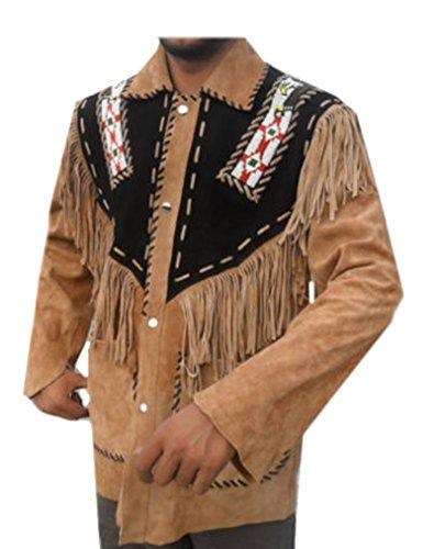 Coolhides Men's Western Leather Jacket with Fringes Suede...