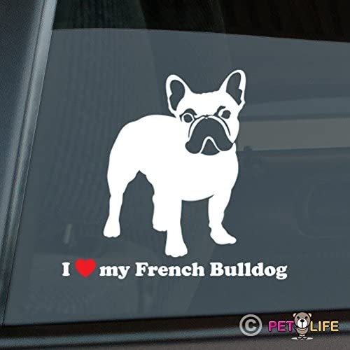French Bulldog Heart Sticker Vinyl Decal Adhesive Wall Window Phone Laptop Black