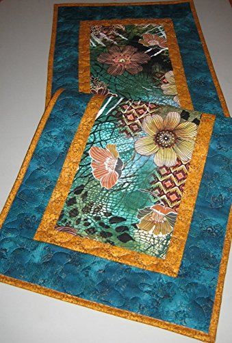 "Quilted Table Runner Abstract Rust, Turquoise and Green, 15 X 48"", Reversible, 100% cotton - 15 Desk Piano"