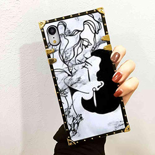 (Locotech Marble Cigarette Lady Square Corner Phone Shell Case for iPhone Xr (2018) 6.1 Inch)