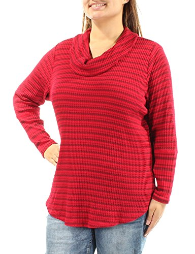 Style & Co. Womens Plus Ribbed Knit Striped Tunic Sweater Red 1X ()