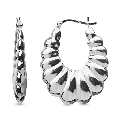 3f455bfb3 Image Unavailable. Image not available for. Color: LeCalla Sterling Silver  Jewelry Large Shrimp Hoop Earrings for Women