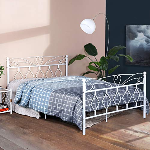 (EGGREE Queen Size Bed Frame Metal Platform Bed with Victorian Style Headboard and Footboard,Mattress Foundation/Box Spring Replacement,Steel Slat Support/Smart Base, Matte White)
