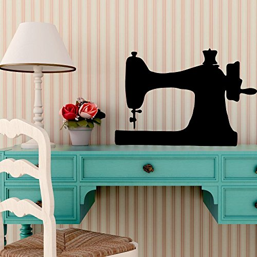 Sewing Room Decor Vinyl Wall Decal - Rustic Farmhouse Antique Sewing Machine Silhouette - Removable Decorative Wall or Window Cling for Craftroom, Living Room, or Office from CustomVinylDecor